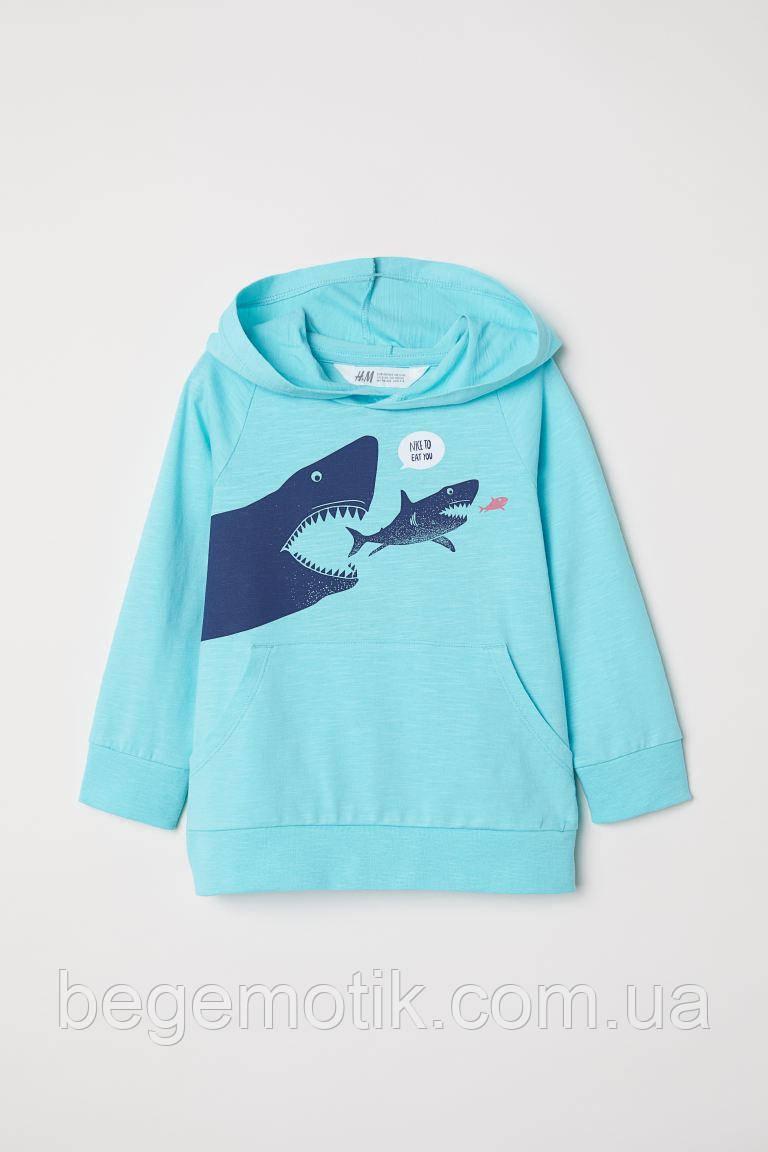 H&M Летнее худи для мальчика с акулами хлопок 6-8 лет рост 122-128