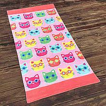 Махровое пляжное полотенце, летнее покрывало, подстилка, коврик с котами