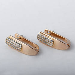 Золоті сережки доріжка з фіанітами. СП424