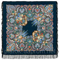 Над серебряной водой 734-14, павлопосадский платок шерстяной  с шерстяной бахромой