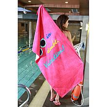 Розовое пляжное полотенце махровое, покрывало, подстилка, яркий летний коврик