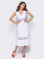 Белое платье  миди вечернее