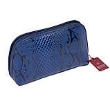 """Женская косметичка Butun 665-008-034 кожаная """"под рептилию"""" синяя, фото 2"""