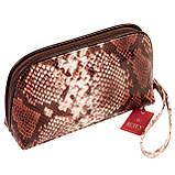 """Женская косметичка Butun 665-038-004 коричневая кожаная """"под рептилию"""", фото 2"""