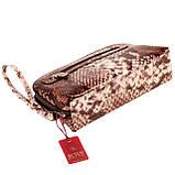 """Женская косметичка Butun 665-038-004 коричневая кожаная """"под рептилию"""", фото 3"""