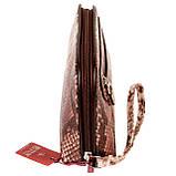 """Женская косметичка Butun 665-038-004 коричневая кожаная """"под рептилию"""", фото 4"""