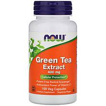 """Экстракт зеленого чая NOW Foods """"Green Tea Extract"""" 400 мг, с витамином С (100 капсул)"""