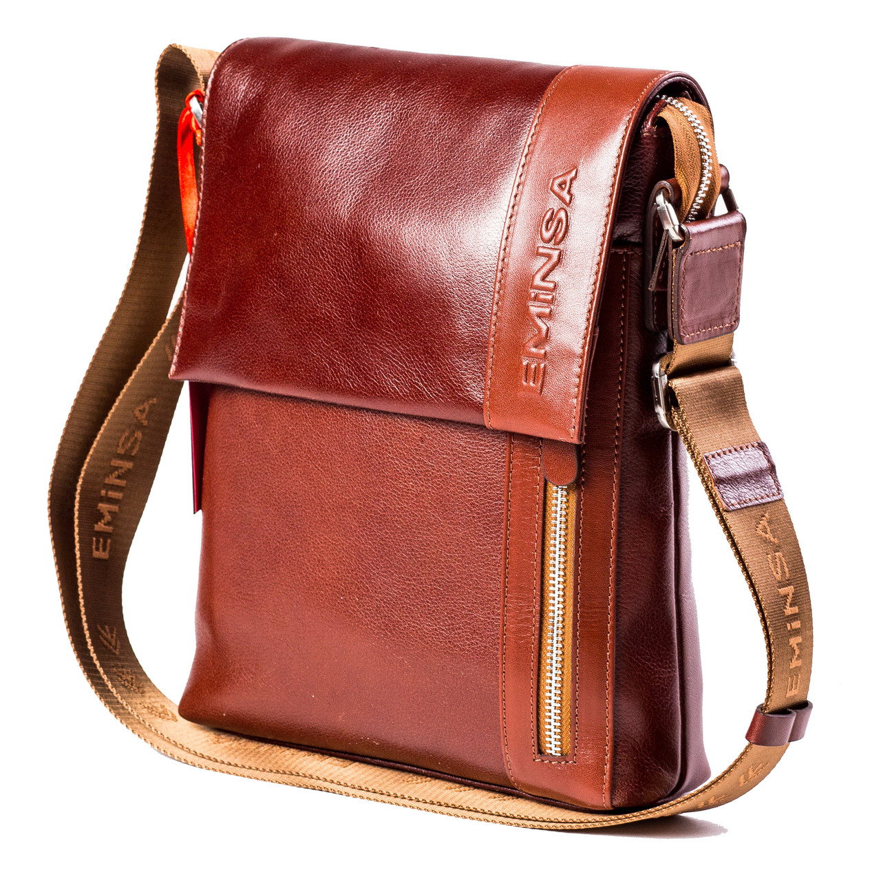 Мужская сумка кожаная коричневая Eminsa 6044-12-4