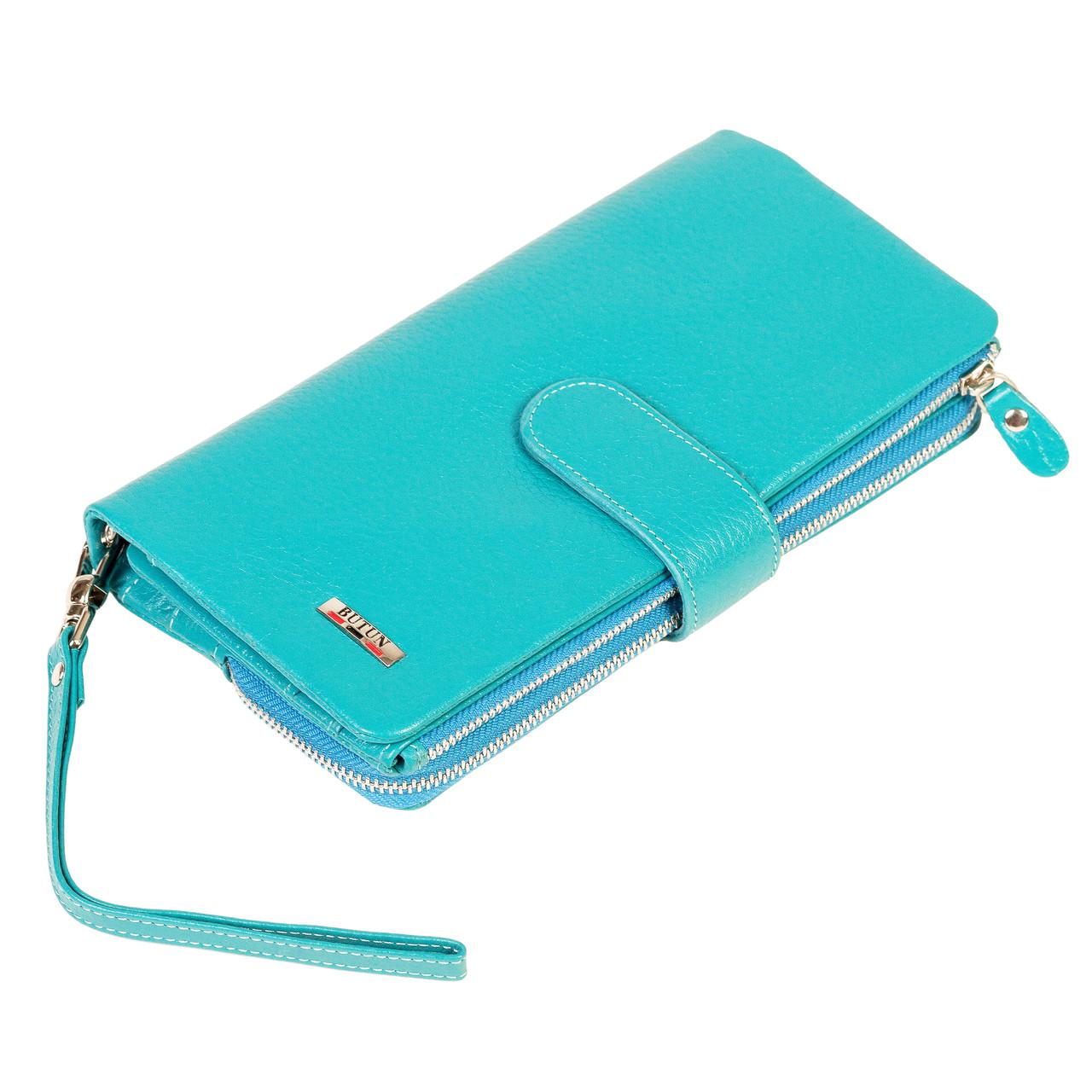 Женский кошелек клатч BUTUN 022-004-050 кожаный бирюзовый