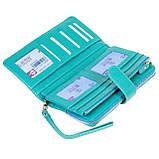 Женский кошелек клатч BUTUN 022-004-050 кожаный бирюзовый, фото 5