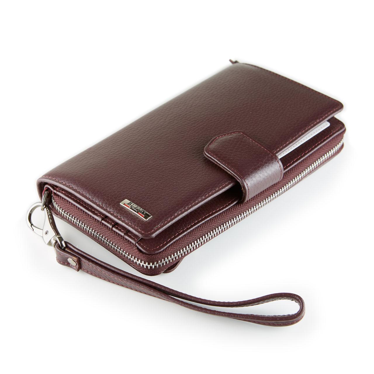 Женский кошелек клатч кожаный бордовый BUTUN 594-004-002