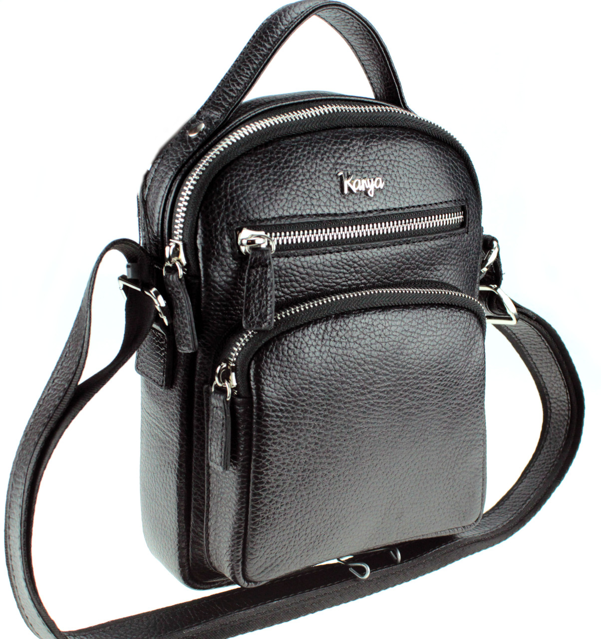 Мужская сумка барсетка Karya 0251-45 кожаная черная