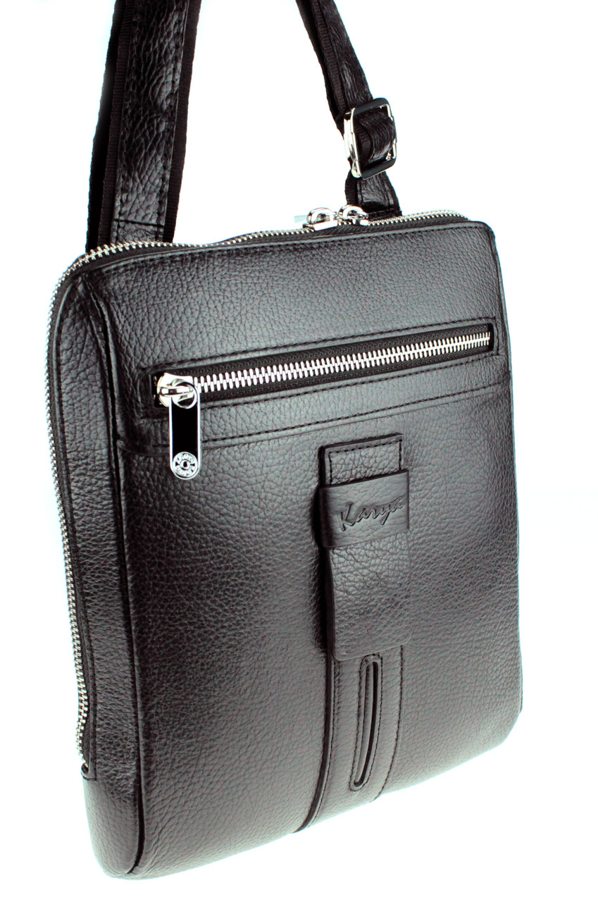 Мужская сумка Karya 0678-45 через плечо кожаная черная