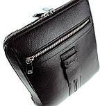 Мужская сумка Karya 0678-45 через плечо кожаная черная, фото 4