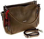 Женская сумка Eminsa 40225-37-17 кожаная бежевая, фото 3