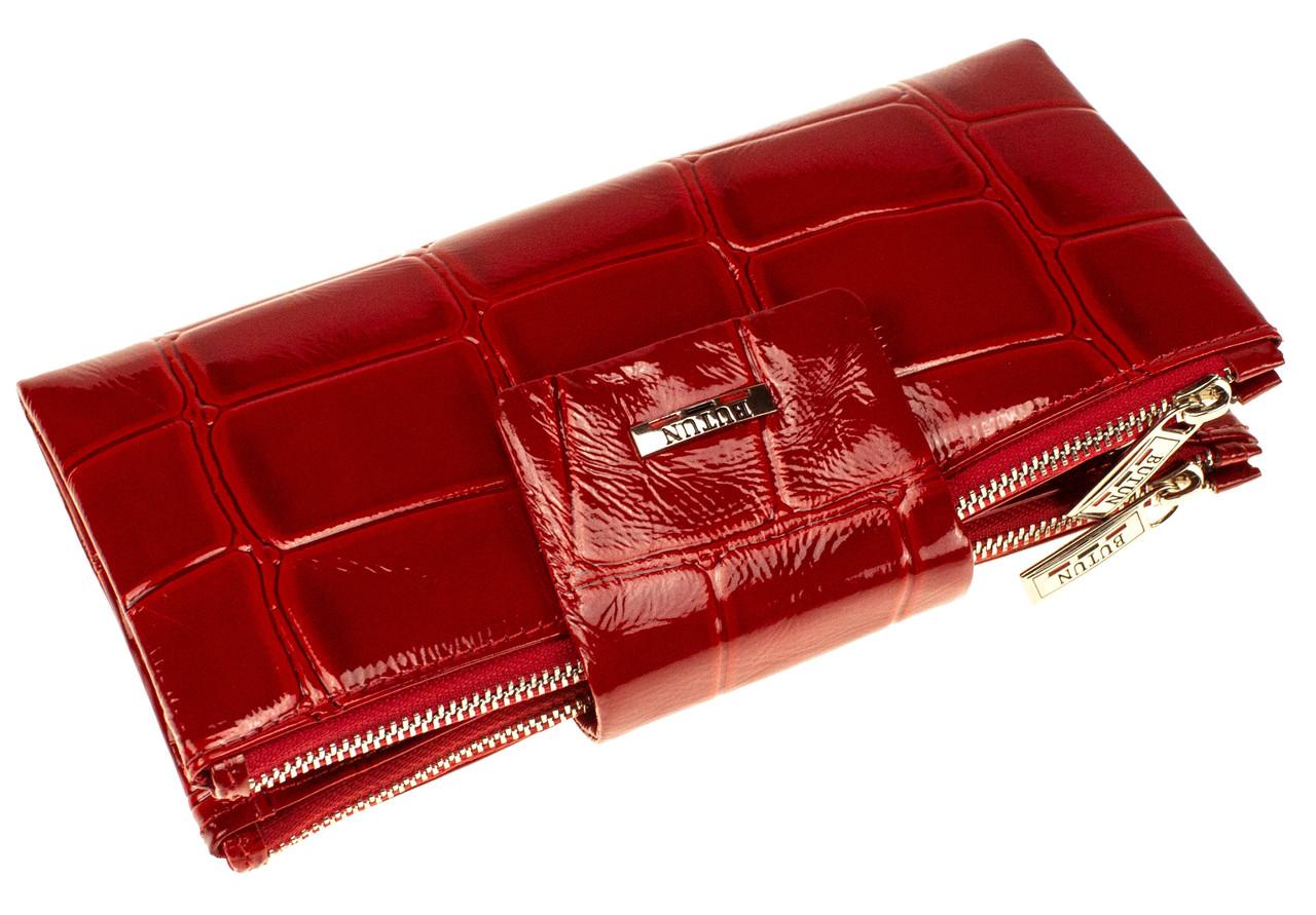 Большой женский кошелек BUTUN 507-007-074 кожаный красный
