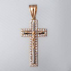 Золотий хрестик з фіанітами.П03077