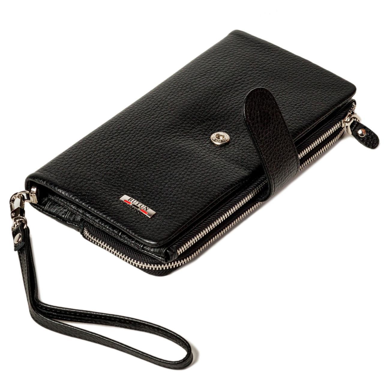 Мужской кошелек клатч кожаный черный BUTUN 022-004-001