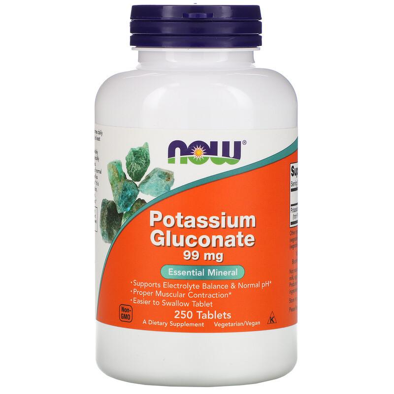 "Глюконат калия NOW Foods ""Potassium Gluconate"" 99 мг (250 таблеток)"
