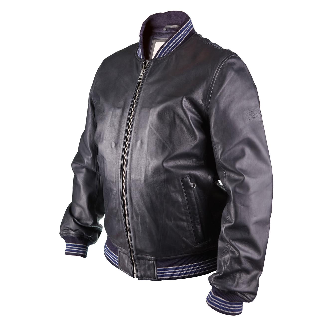 Мужская кожаная куртка бомбер Pepe Jeans Auge темно-синий