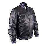 Мужская кожаная куртка бомбер Pepe Jeans Auge темно-синий, фото 3