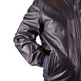 Мужская кожаная куртка бомбер Pepe Jeans Auge темно-синий, фото 4
