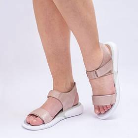 Босоножки на липучках  на пятке и носочке низкий ход пудра Размеры 36-41
