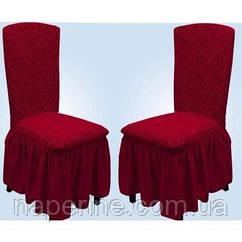 Чехлы VIP натяжные на стулья жаккардовые MILANO Venera набор 6 шт бордовые 221