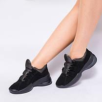 Черные женские кроссовки на массивной подошве 933-03, фото 3