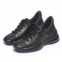 Кроссовки кожаные черный сатин 933-13, фото 2