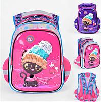 Школьный ортопедический рюкзак для девочки розовый , ранец портфель детский с принтом 3D кошечка