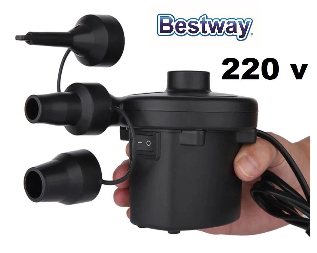 Электрокомпрессор-насос на 220 v для накачки надувных матрасов и бассейнов с насадками BestWay