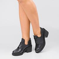 Женские черные кожаные туфли на среднем каблуке Размеры 36-41