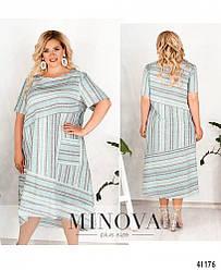 Элегантное платье батал с асимметричными вставками по диагонали, размер 52-54,56-58,60-62,64-66
