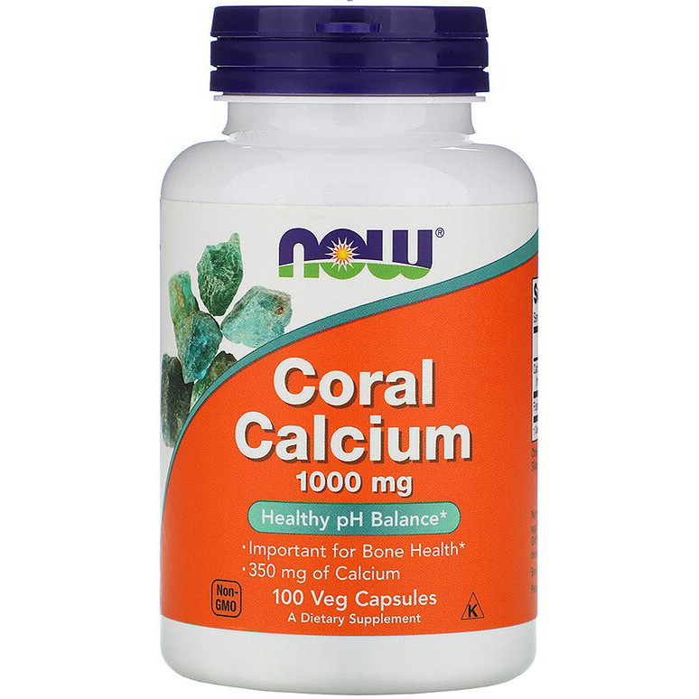"""Коралловый кальций NOW Foods """"Coral Calcium"""" 1000 мг, для здоровья костей (100 капсул)"""