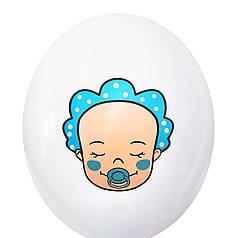 """3019  Шар 12"""" (30 см) Малыш мальчик на белом (BelBal)"""