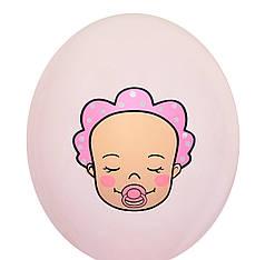 """3018 Шар 12"""" (30 см) Малыш девочка на розовом (BelBal)"""