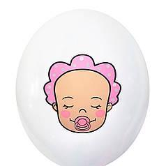 """3017 Шар 12"""" (30 см) Малыш девочка на белом (BelBal)"""