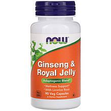 """Женьшень с маточным молочком NOW Foods """"Ginseng & Royal Jelly"""" с лакрицей (90 капсул)"""