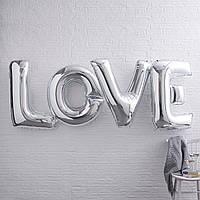 LOVE Шары буквы надпись Фольгированные, высота 80 см