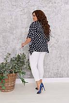 """Женский брючный костюм """"SALINAS"""" с блузой-разлетайкой в горох (большие размеры), фото 3"""