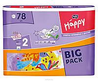 BELLA Happy Белла Хэппи Подгузники 3-6 кг Размер 2 Бигпак Макси Maxi 3d Flexi system 78 штук, фото 1