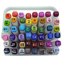 508-48 Набор скетч маркеров 48 цветов двухсторонний  скошенный / круглый тонкий TY в пластиковом контейнере