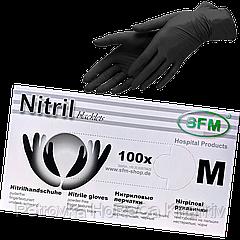 """Перчатки нитриловые текстурированные черные M """"SFM"""" 1уп/100шт"""