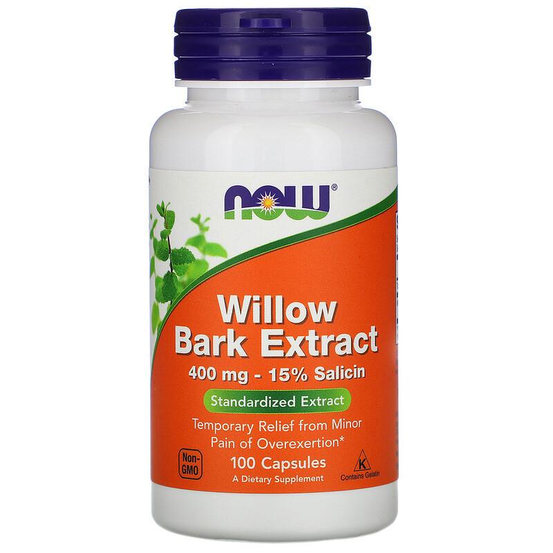 """Екстракт кори верби NOW Foods """"Willow Bark Extract"""" 400 мг (100 капсул)"""
