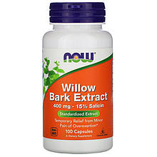 "Экстракт коры ивы NOW Foods ""Willow Bark Extract"" 400 мг (100 капсул)"