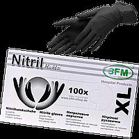 """Нитриловые перчатки черные текстурированные  XL """"SFM"""" уп/100шт, фото 1"""