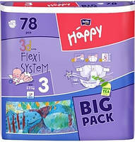 BELLA Happy Белла Хэппи Подгузники 5-9 кг Размер 3 Бигпак Макси Maxi 3d Flexi system 78 штук, фото 1