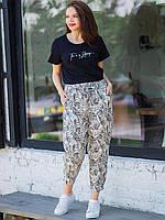 Лёгкие летние штаны с принтом большего размера, фото 1