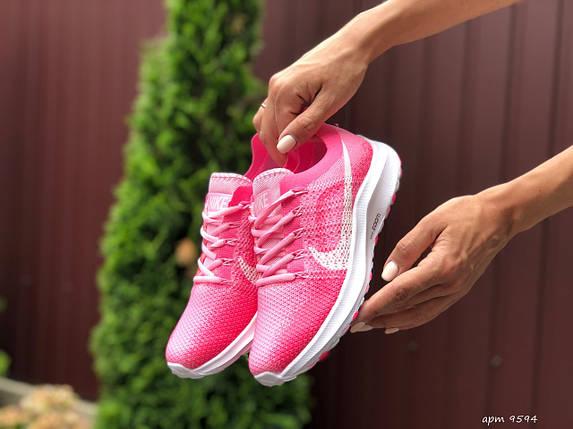 Женские Кроссовки сетка розовые яркие, фото 2
